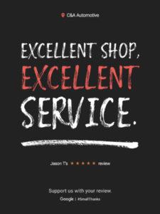 Auto Repair Customer Google Review: Excellent Shop. Excellent Service.
