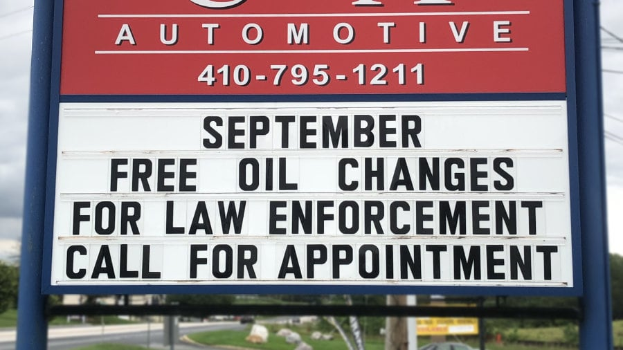 Free oil change for Sykesville law enforcement